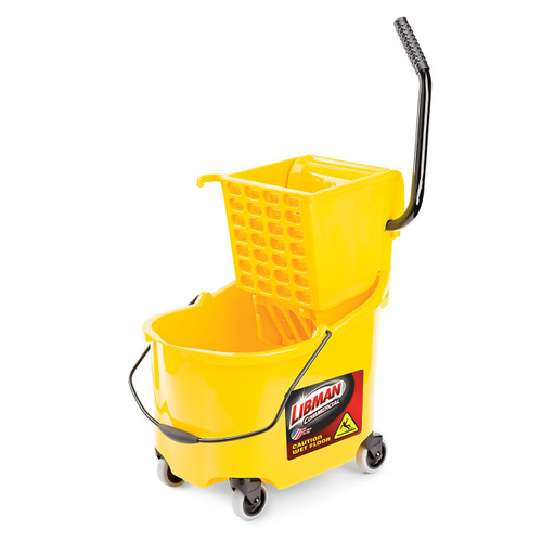 "Mop Bucket & Wringer, 32 quart (max), 26 quart (usable), heavy duty, 20""D x 24""H, side press, accepts 32 oz. (max) mop head"