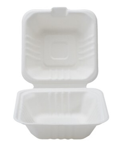 Conserveware 6x6x3 Square Bagasse Hinged Container (500/CS)