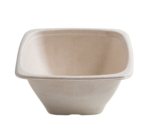 "Conserveware 7""/32oz TAN Bagasse Square Bowl (300/CS)"