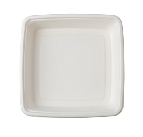 "Conserveware 9""/50oz TAN Bagasse Square Plate/Bowl (200/CS)"