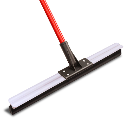 "Floor Squeegee, 24""W x 58""H, threaded steel handle, with grip and hanger hole, black closed-cell foam rubber flex blade"