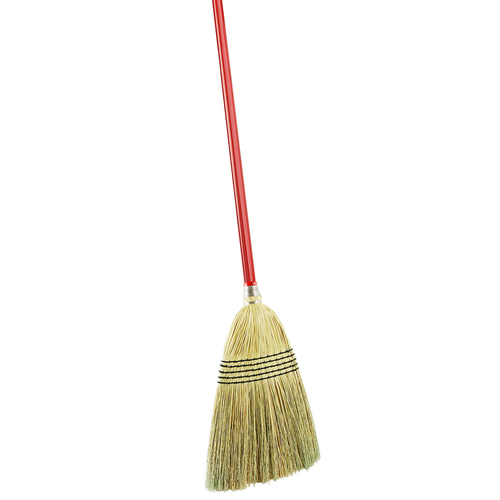 "Corn Broom, 12-1/2""W x 57""H, 15-ply polymer thread, 5 rows of stitching, 1"" dia. red steel handle, with grip and hanger hole, 100% natural broom corn"