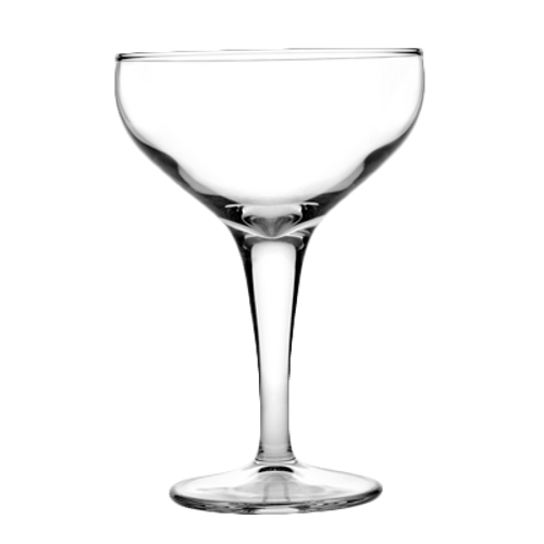 "Pasabahce Moda Coupe Glass, 6-3/4 oz., 5-1/4""H (3-3/4""T; 2-1/2""B), fully tempered, glass, clear, (12 each per case)"