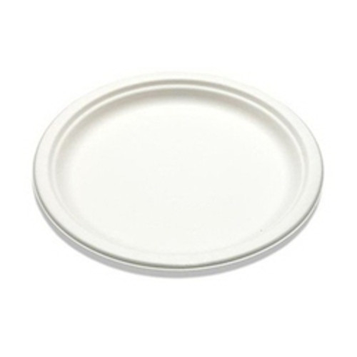 "9"" Compostable Natural Fiber Round Plate - White (500/cs)"