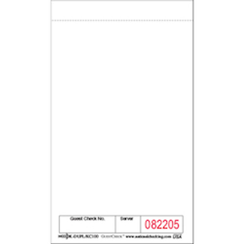 "6"" x 3.5"" Small White Paper Cardboard One-Part Kitchen Guest Check (5M/CS)"