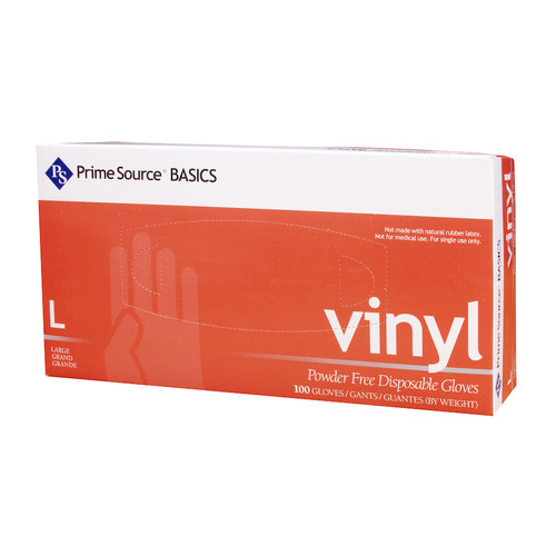 Prime Source® Basics Powder Free Clear Vinyl Glove, Large (10/100)