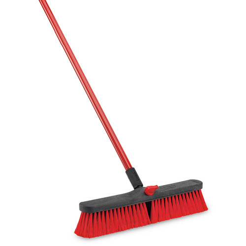 "Push Broom, 18"" x 60""H, multi-surface, 1"" dia. steel handle, with 5"" grip, hanger hole and locking bolt, black polymer block, nylon thread, 3"" flagged staple-set recycled PET fibers, red"