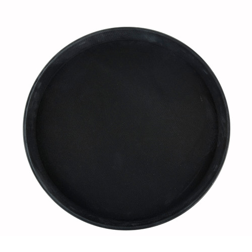 "Deluxe Tray, 11"" dia., round, self-molded non-slip surface, resists peeling, not recommended to soak in hot water, fiberglass, black, NSF (6ea/cs)"