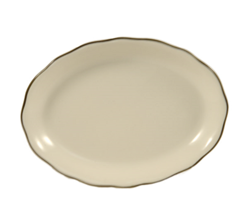 "Seville Platter, 11-5/8""L x 8-1/2""W x 1-1/2""H, oval, scallop edge, dishwasher, oven and microwave safe, stoneware (ceramic), Black Band/American White (12/cs)"