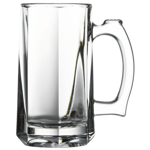 "Pasabahce Beer Stein, 12 oz., 5-3/4""H (2-3/4"" T & 2-1/2"" B), with handle, glass, clear (16 each per case)"