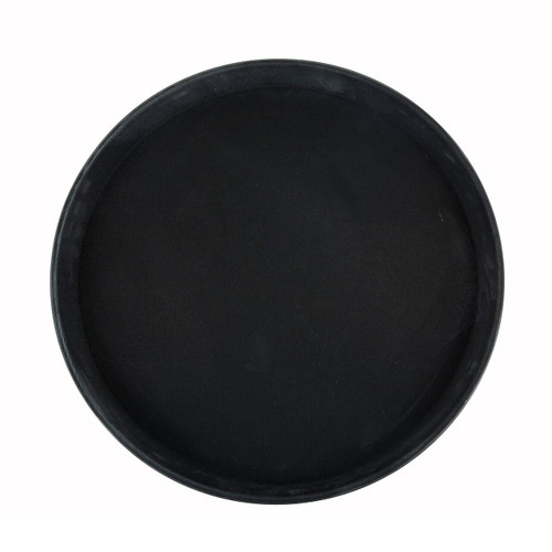 "Deluxe Tray, 14"" dia., round, self-molded non-slip surface, resists peeling, not recommended to soak in hot water, fiberglass, black, NSF (6ea/cs)"