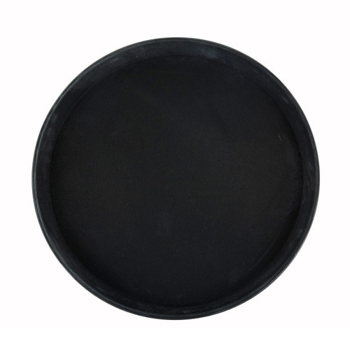 """Deluxe Tray, 16"""" dia., round, self-molded non-slip surface, resists peeling, not recommended to soak in hot water, fiberglass, black, NSF (6ea/cs)"""