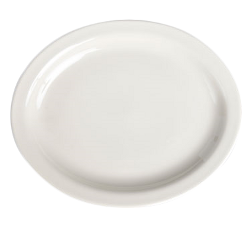 """Platter, 13-3/4"""" x 11-1/4"""", oval, narrow rim, Homer Ivory, Undecorated, Made in USA (1dz/cs)"""