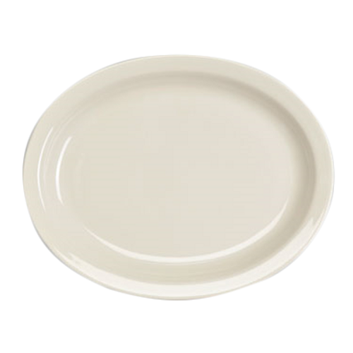 "Platter, 11-3/8"" x 9"", oval, narrow rim, Homer Ivory, Undecorated, Made in USA (1dz/cs)"