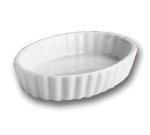 "Soufflé, 6-1/2 oz., 6"" x 4-1/2"", oval, fluted, Hall China, White, Made in USA (2dz/cs)"