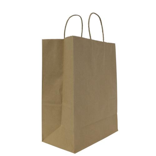 Karat® Laguna (Medium) 10x13x5w Paper Shopping Bags - Kraft (250/ct)