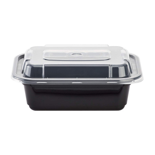 Karat® 6x5/12oz Black Rectangular Microwavable Container w/Lid (150/cs)