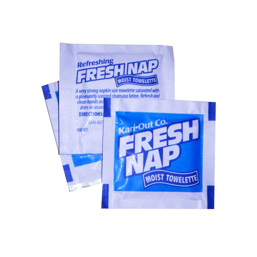 "Kari-Out Co. - Fresh Nap 4.5""x6.25"" Pre-Moistened Lemon Scented Towelette (1M/CS)"