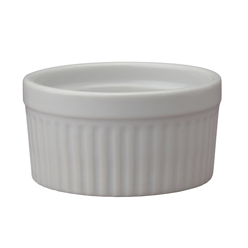 "Soufflé, 8 oz., 3-3/4"", oven-to-table fine porcelain, safe for oven, broiler, microwave, freezer & dishwasher (6/bx)"