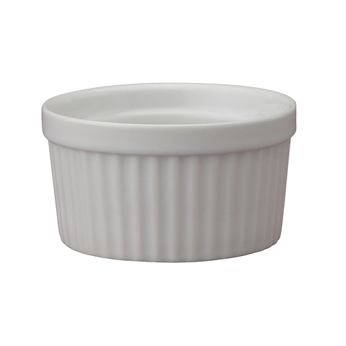 "Soufflé, 4 oz., 3"", oven-to-table fine porcelain, safe for oven, broiler, microwave, freezer & dishwasher (6/bx)"