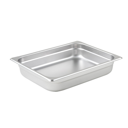"Steam Table Pan, 1/2 size, 10-3/8"" x 12-3/4"" x 2-1/2"" deep, 25 gauge standard weight, anti-jamming, 18/8 stainless steel, NSF (1 each)"