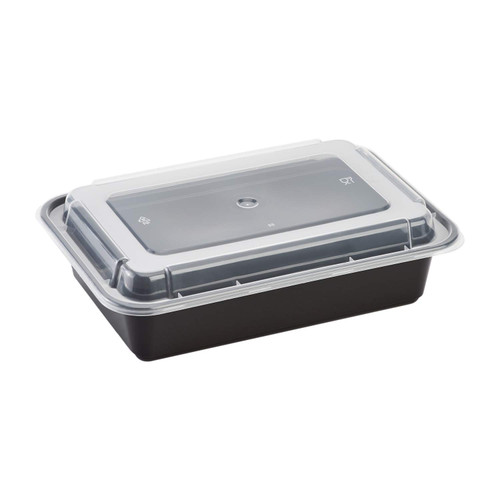 Karat® 9x6/38oz Black Rectangular Microwavable Container w/Lid (150/cs)