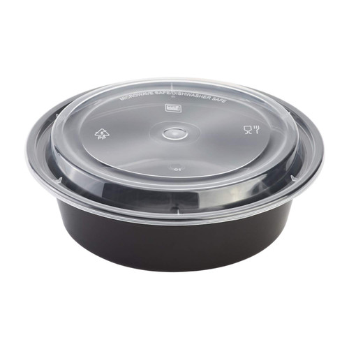 "Karat® 7""/32oz Black Microwaveable Round Takeout Container w/Lid Combo, Black Base/Clear Lid (150/cs)"