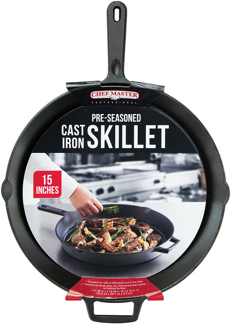 "Chef Master™ Skillet, 15"" dia., round, handled, pre-seasoned, ready to use, cast iron (1 ea)"