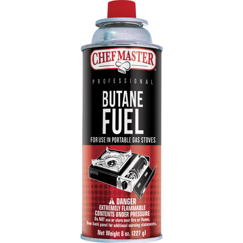 Chef-Master™ Butane Fuel, 8oz can, 2-4 hours burn time, UL (12/cs)