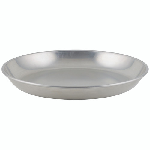 """Seafood Tray, 75 oz., 12"""" dia. x 1-1/2""""H, round, smooth rolled edge, brushed aluminum (1ea)"""