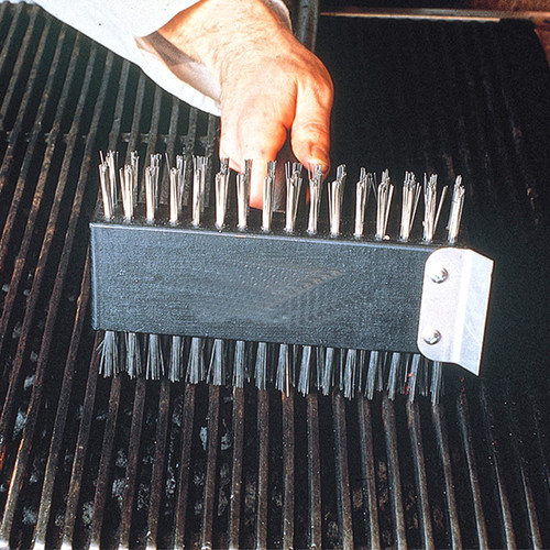 """Broiler Brush, 31""""L x 8-1/2""""W x 5""""H, one side - semi stiff, one side - extra stiff, tempered stainless scraper, 30"""" handle with metal threaded tip"""