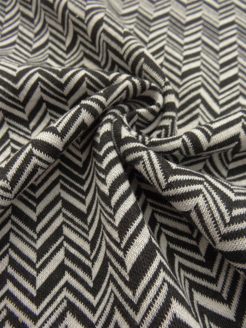 Broken Chevron Italian Ponte Double Knit - BW