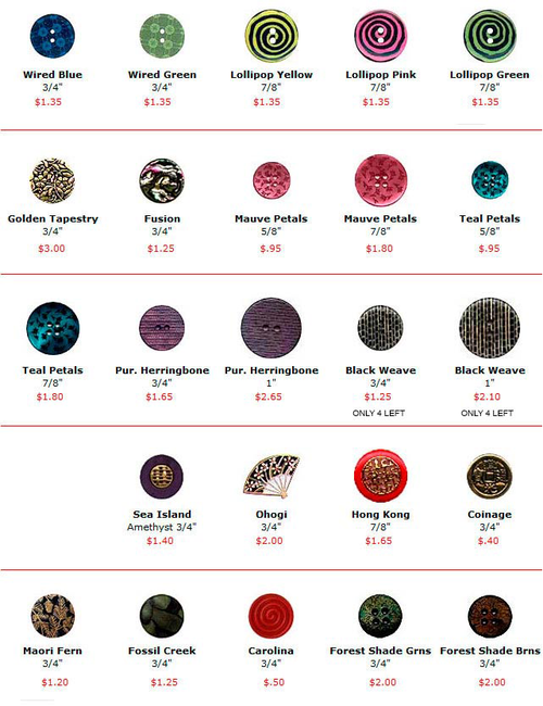 Buttons - Fashion - Mixed Materials
