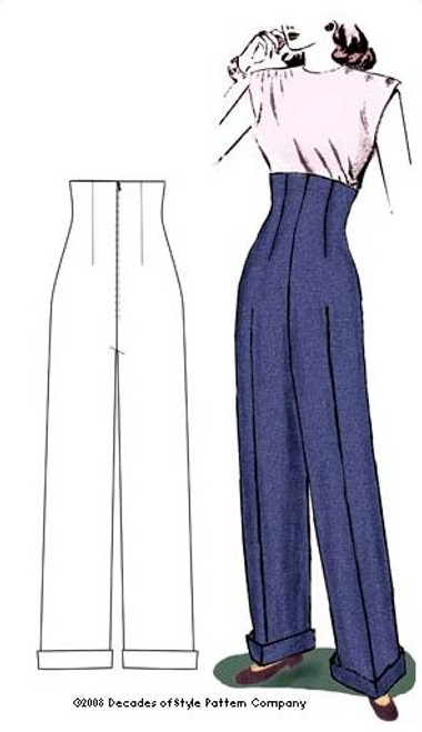 1940's Empire Waist Trousers - Decades of Style