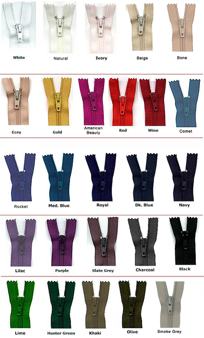 Zippers - Closed Bottom for trousers, skirts, blouses and dresses.