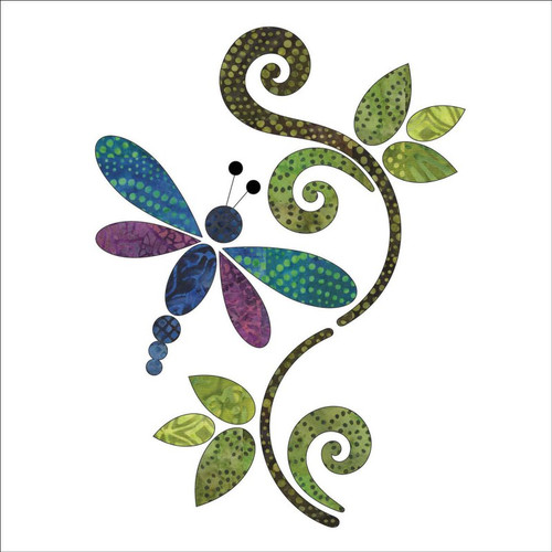 Applique Dragonfly Batik Panel