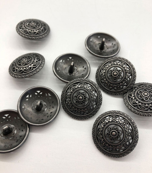 Silver Stylized Domed Metal Shank Button