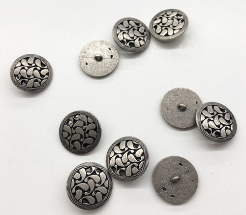 Pewter Gray Stylized Metal Shank Buttons