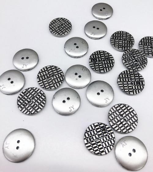 Silver/Black Grid Design 2-Hole Buttons