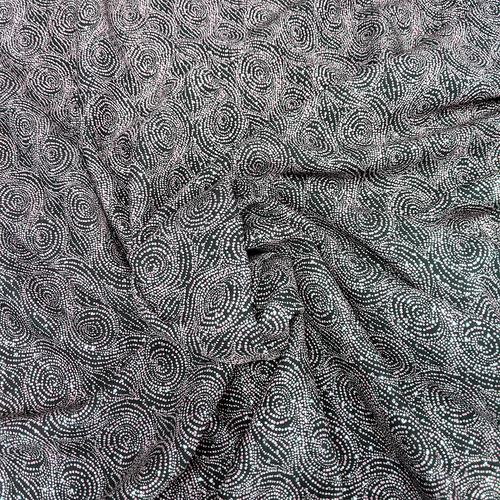 "Dotted Swirl Print Challis - 100% Rayon - 57"" Taupe/Grey/Black/Silver"