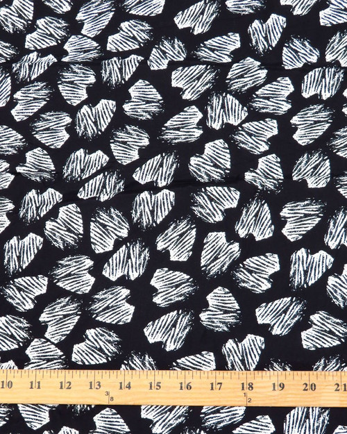 Abstract Pebble Print Rayon Challis - Blk/Wht - 55""
