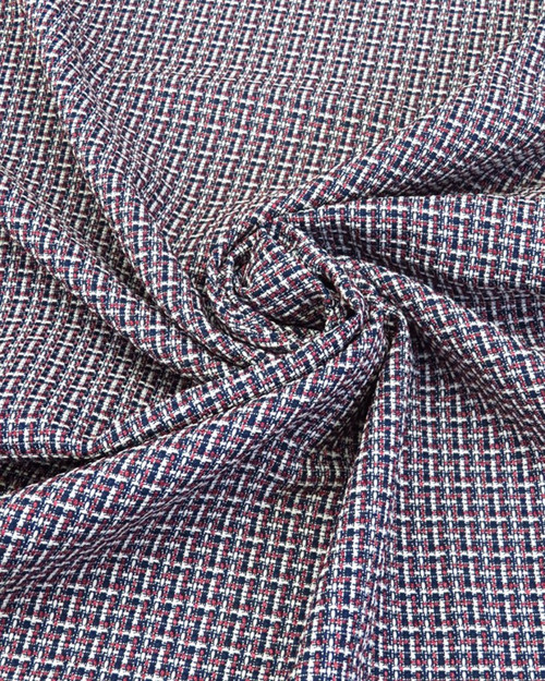 """Tweed Suiting - Berry/White/Navy - 58"""""""