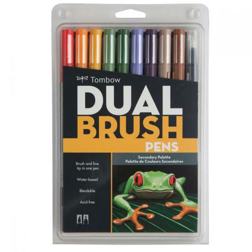 Dual Brush Pen Art Markers - Secondary Colors 10-Pack