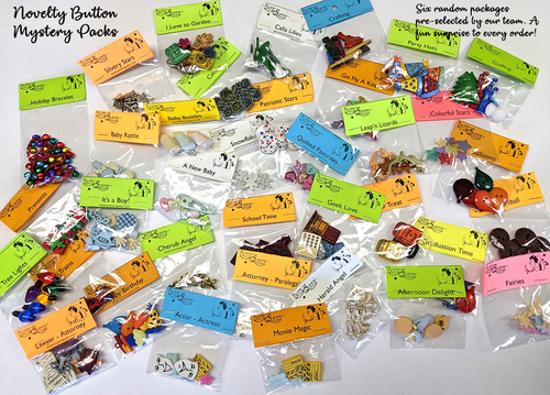 Novelty Button Mystery Packs - 6 Sets each in every pack.
