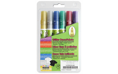 DecoFabric Marker Set Fine Tip Glitter 6pc