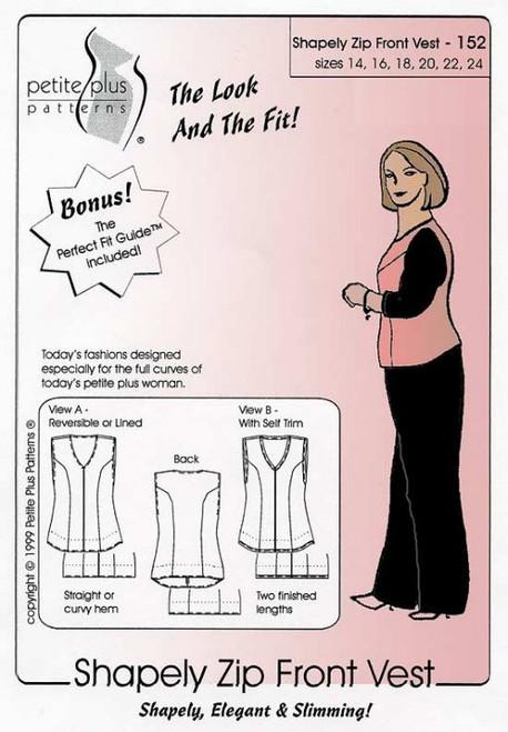 Shapely Zip Front Vest - Petite Plus Patterns