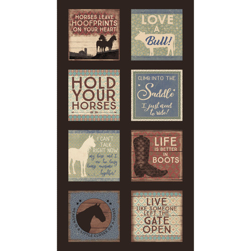 HOLD YOUR HORSES BLOCK PANEL - 100% Cotton 44/45""