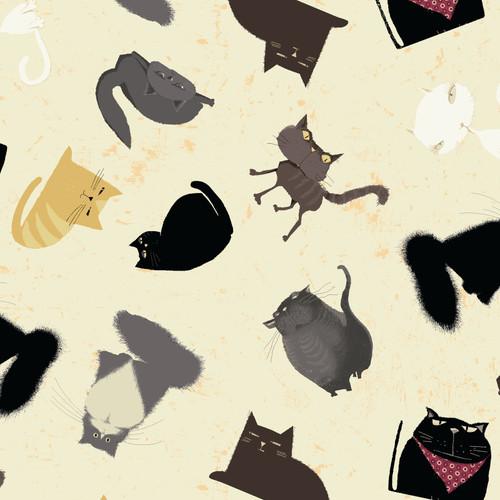 "Snarky Cats - Kitten Play  -100% Cotton - 44/45"""