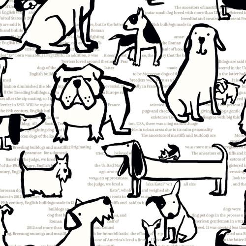 Scribble Animals Canvas - Dogs - 80% COTTON/ 20% LINEN