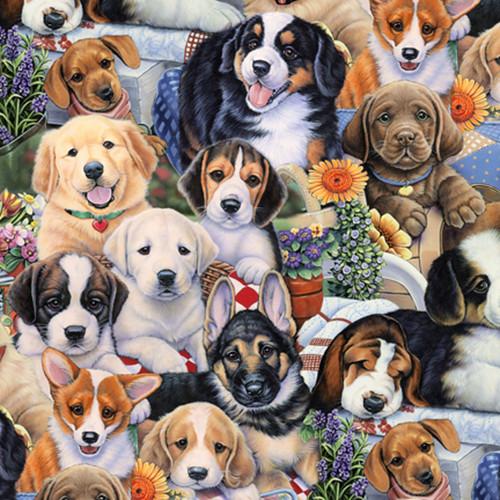 "Animal Love - Puppies - 100% Cotton - 44/45"""